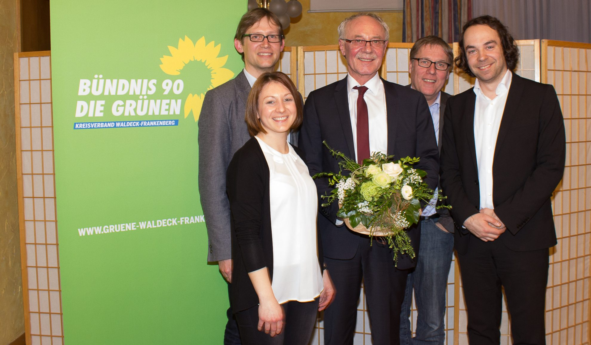v.l.n.r. Jens Deutschendorf, Caroline Tönges, Landrat Dr. Reinhard Kubat, Jürgen Frömmrich und Daniel May